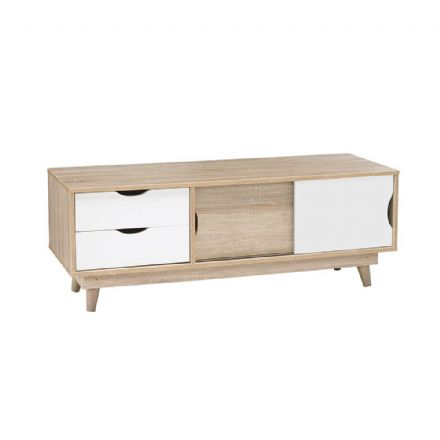 Scandi style TV Unit in white and oak